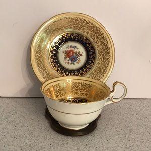 Vintage Aynsley tea cup & saucer set - gold / blue